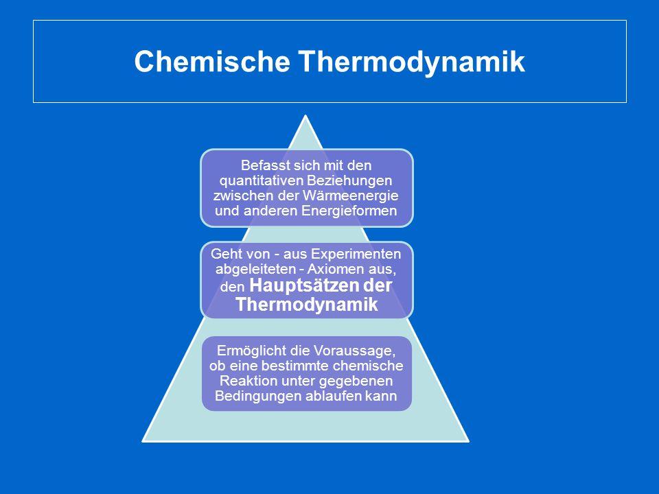 Chemische Thermodynamik Befasst sich mit den quantitativen Beziehungen zwischen der Wärmeenergie und anderen Energieformen Geht von - aus Experimenten