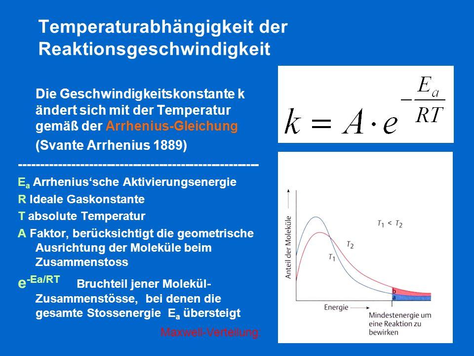 Temperaturabhängigkeit der Reaktionsgeschwindigkeit Die Geschwindigkeitskonstante k ändert sich mit der Temperatur gemäß der Arrhenius-Gleichung (Svan