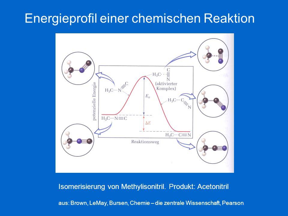 Energieprofil einer chemischen Reaktion Isomerisierung von Methylisonitril. Produkt: Acetonitril aus: Brown, LeMay, Bursen, Chemie – die zentrale Wiss