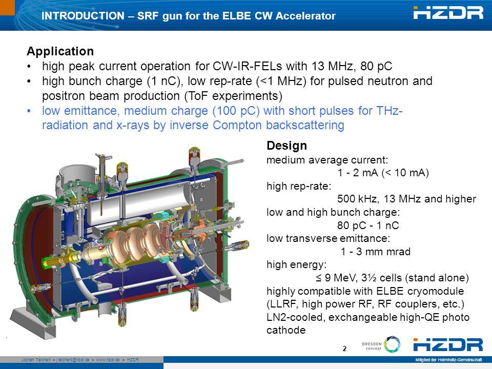 Seite 2 Mitglied der Helmholtz-Gemeinschaft Jochen Teichert j.teichertl@hzdr.de www.hzdr.de HZDR 2 INTRODUCTION – SRF gun for the ELBE CW Accelerator