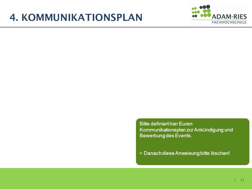 4. KOMMUNIKATIONSPLAN | 11 Bitte definiert hier Euren Kommunikationsplan zur Ankündigung und Bewerbung des Events. > Danach diese Anweisung bitte lösc