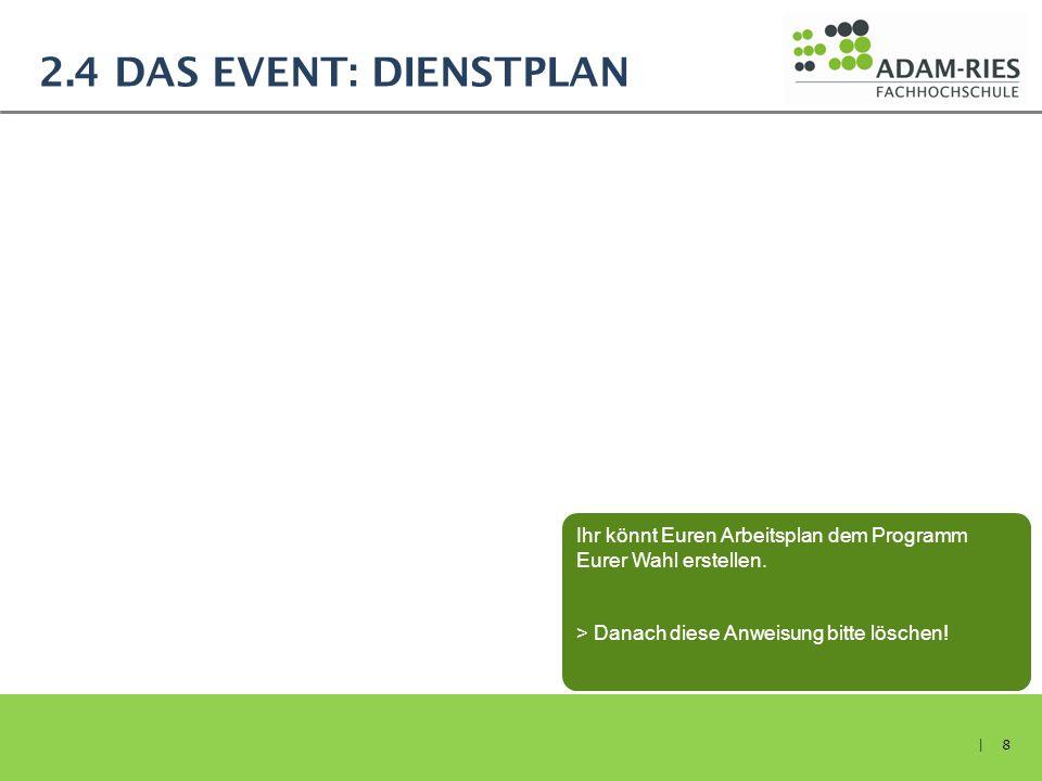 2.4 DAS EVENT: DIENSTPLAN | 8 Ihr könnt Euren Arbeitsplan dem Programm Eurer Wahl erstellen. > Danach diese Anweisung bitte löschen!