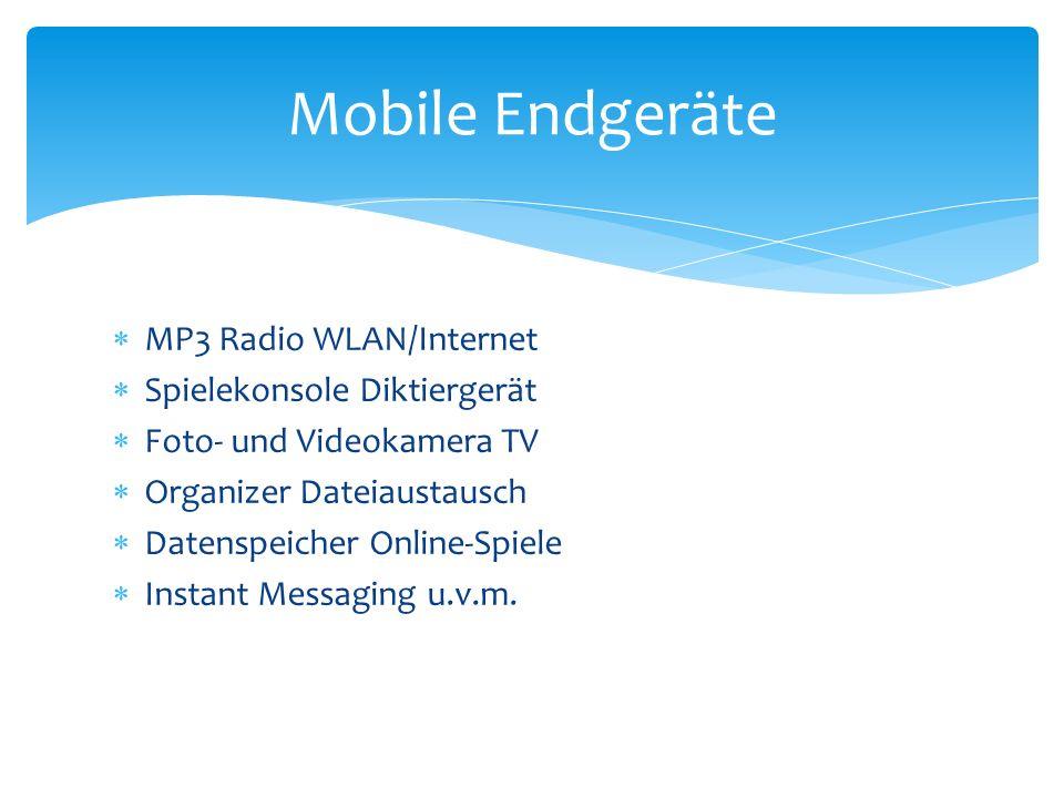 MP3 Radio WLAN/Internet Spielekonsole Diktiergerät Foto- und Videokamera TV Organizer Dateiaustausch Datenspeicher Online-Spiele Instant Messaging u.v