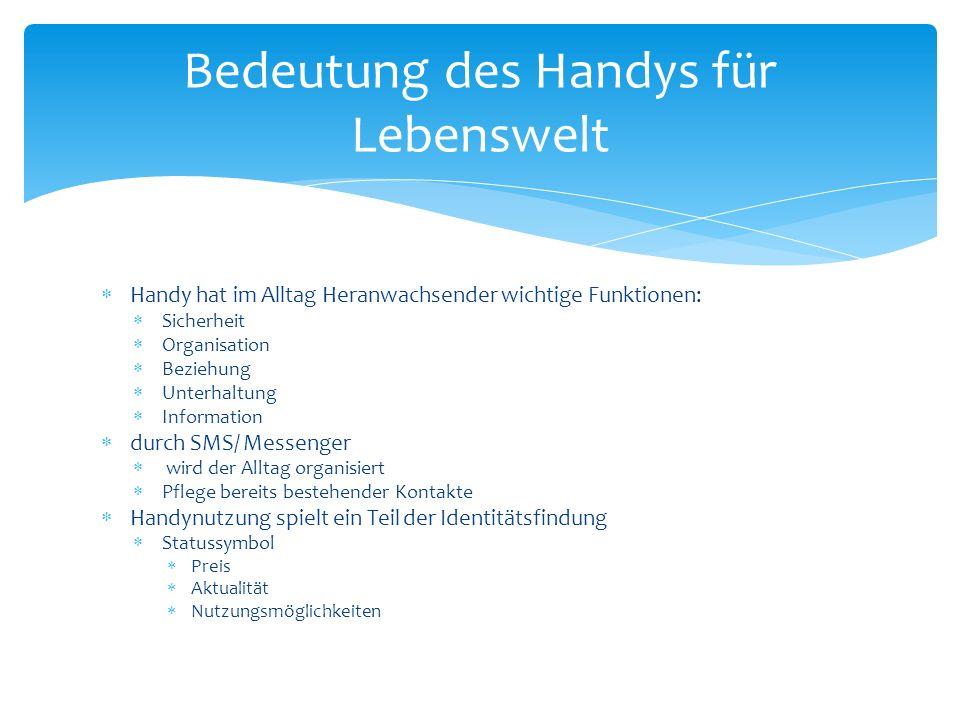 Handy hat im Alltag Heranwachsender wichtige Funktionen: Sicherheit Organisation Beziehung Unterhaltung Information durch SMS/ Messenger wird der Allt