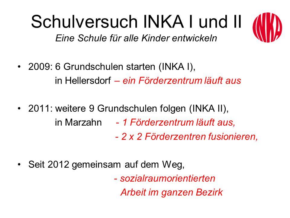 Schulversuch INKA I und II Eine Schule für alle Kinder entwickeln 2009: 6 Grundschulen starten (INKA I), in Hellersdorf – ein Förderzentrum läuft aus
