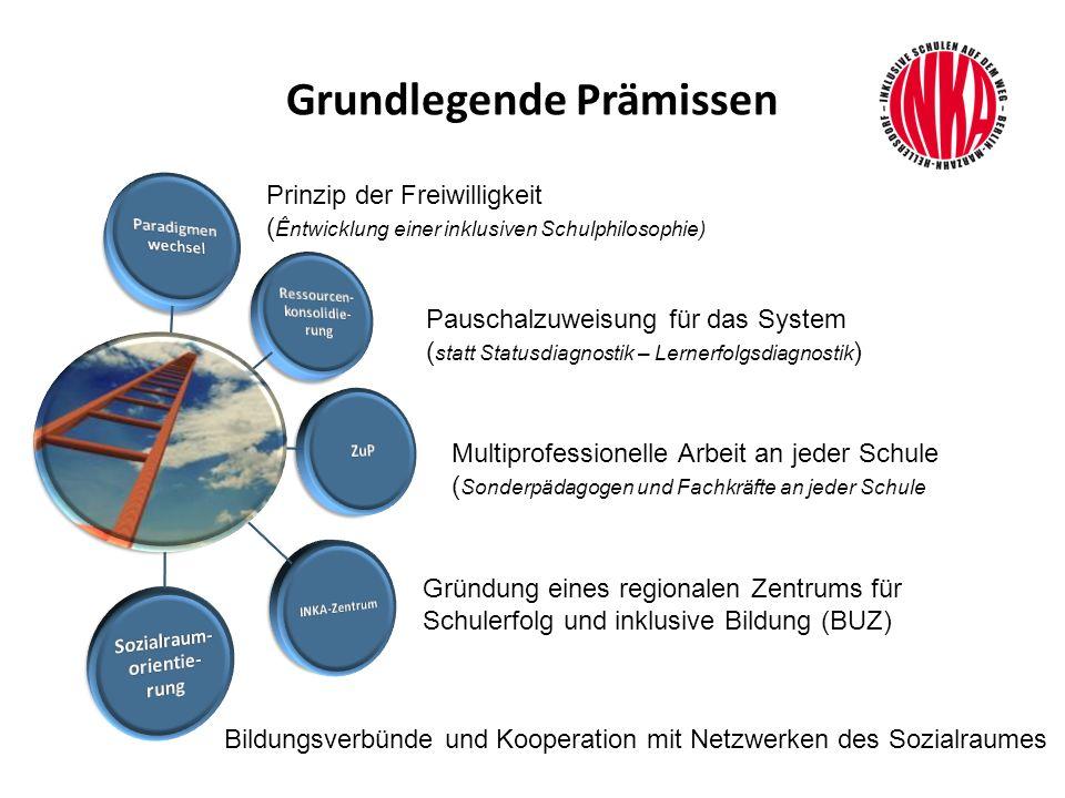 Grundlegende Prämissen Prinzip der Freiwilligkeit ( Êntwicklung einer inklusiven Schulphilosophie) Pauschalzuweisung für das System ( statt Statusdiag
