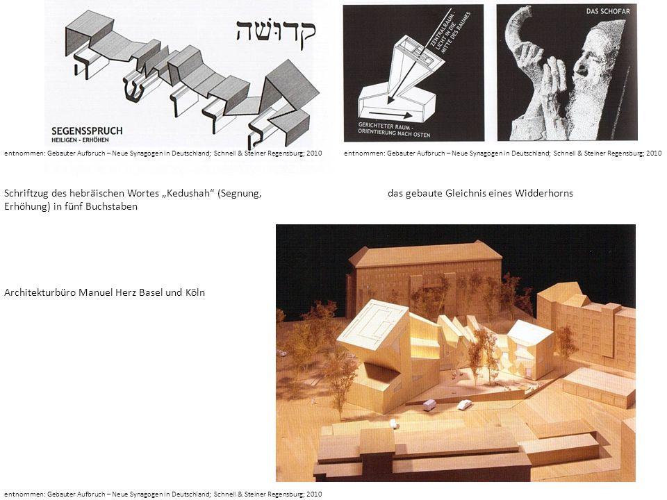 entnommen: Gebauter Aufbruch – Neue Synagogen in Deutschland; Schnell & Steiner Regensburg; 2010 Schriftzug des hebräischen Wortes Kedushah (Segnung,