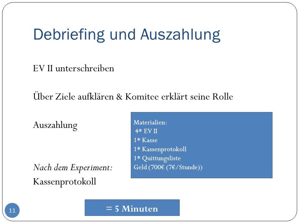 Debriefing und Auszahlung 11 EV II unterschreiben Über Ziele aufklären & Komitee erklärt seine Rolle Auszahlung Nach dem Experiment: Kassenprotokoll M