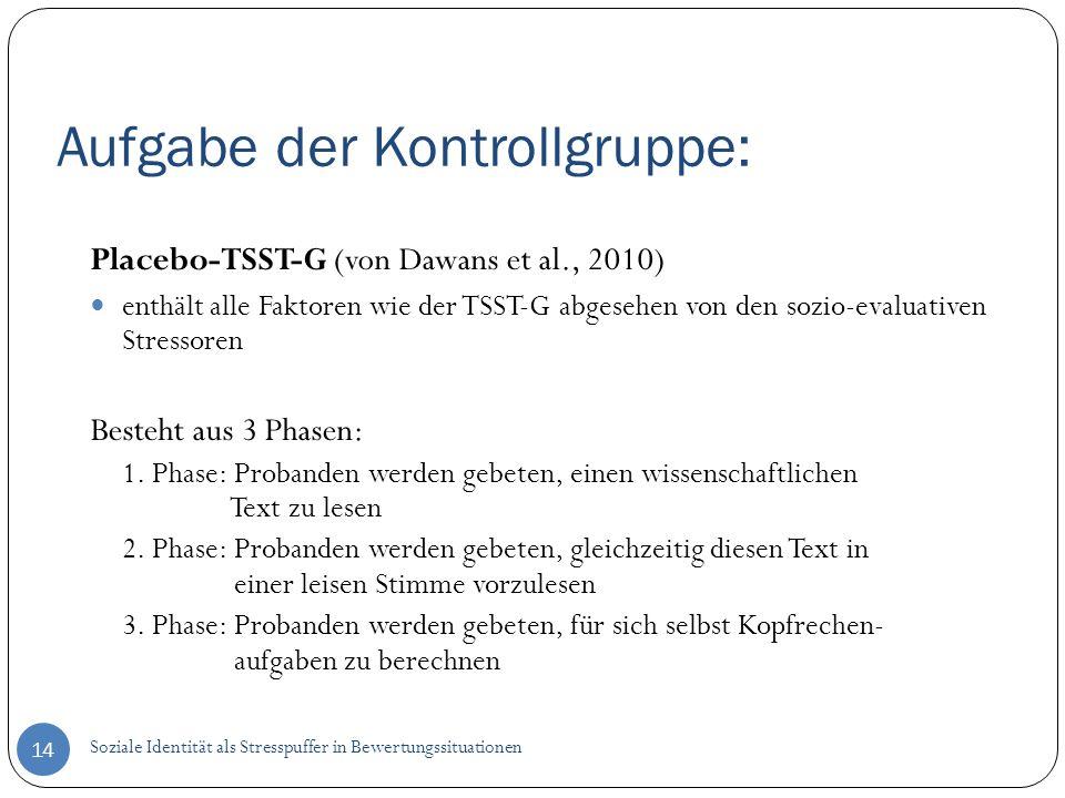 Aufgabe der Kontrollgruppe: 14 Placebo-TSST-G (von Dawans et al., 2010) enthält alle Faktoren wie der TSST-G abgesehen von den sozio-evaluativen Stres