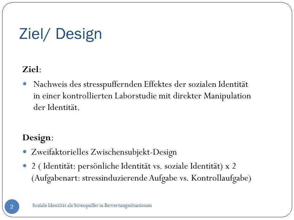 Ziel/ Design Soziale Identität als Stresspuffer in Bewertungssituationen 2 Ziel : Nachweis des stresspuffernden Effektes der sozialen Identität in ein