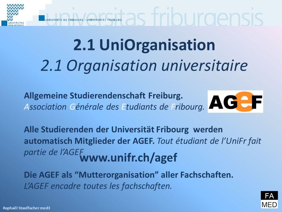 2.1 UniOrganisation 2.1 Organisation universitaire Allgemeine Studierendenschaft Freiburg.