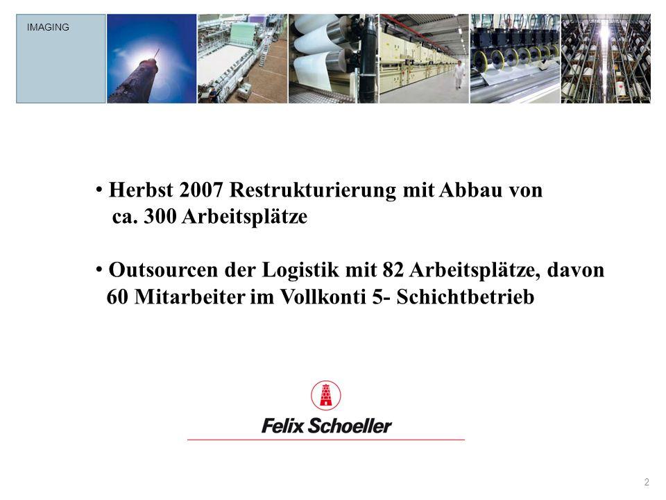 IMAGING 2 Herbst 2007 Restrukturierung mit Abbau von ca. 300 Arbeitsplätze Outsourcen der Logistik mit 82 Arbeitsplätze, davon 60 Mitarbeiter im Vollk