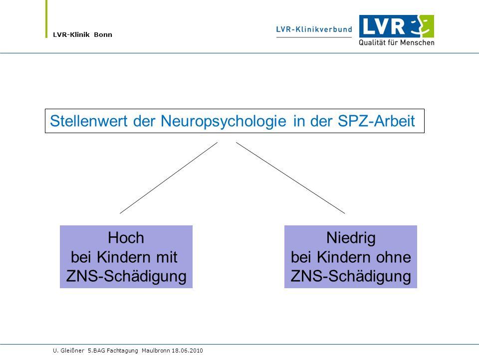 LVR-Klinik Bonn U. Gleißner 5.BAG Fachtagung Maulbronn 18.06.2010 Stellenwert der Neuropsychologie in der SPZ-Arbeit Hoch bei Kindern mit ZNS-Schädigu