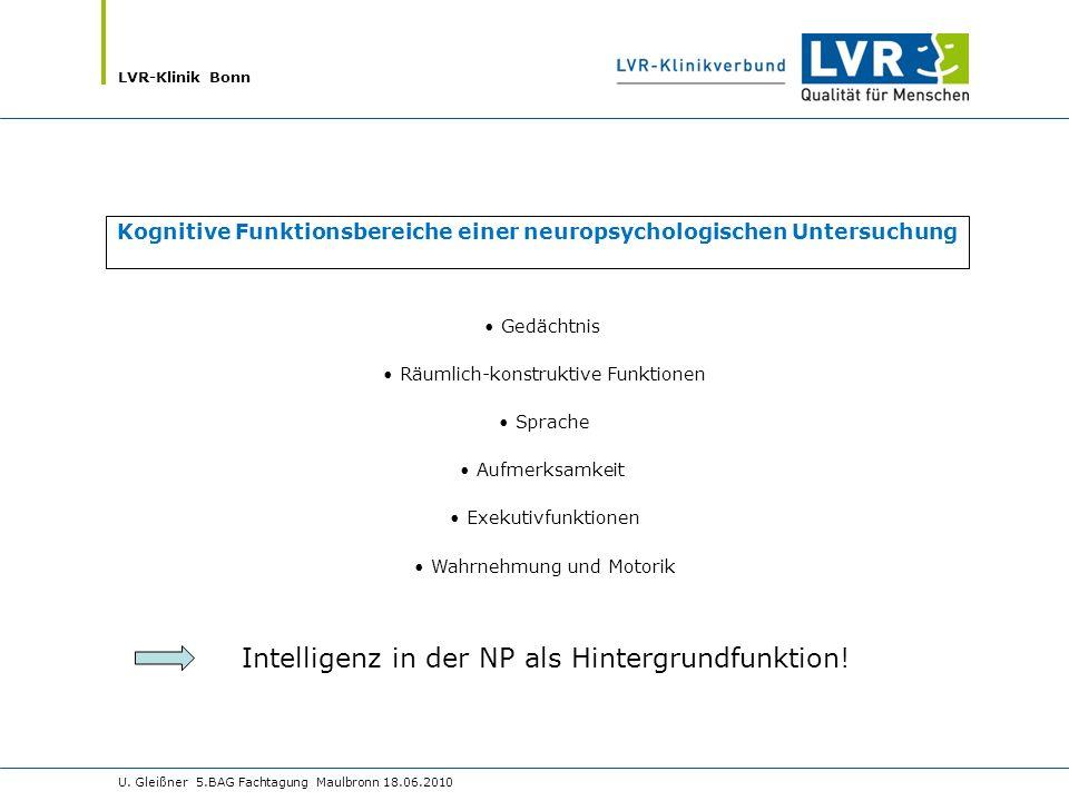 LVR-Klinik Bonn U. Gleißner 5.BAG Fachtagung Maulbronn 18.06.2010 Gedächtnis Räumlich-konstruktive Funktionen Sprache Aufmerksamkeit Exekutivfunktione