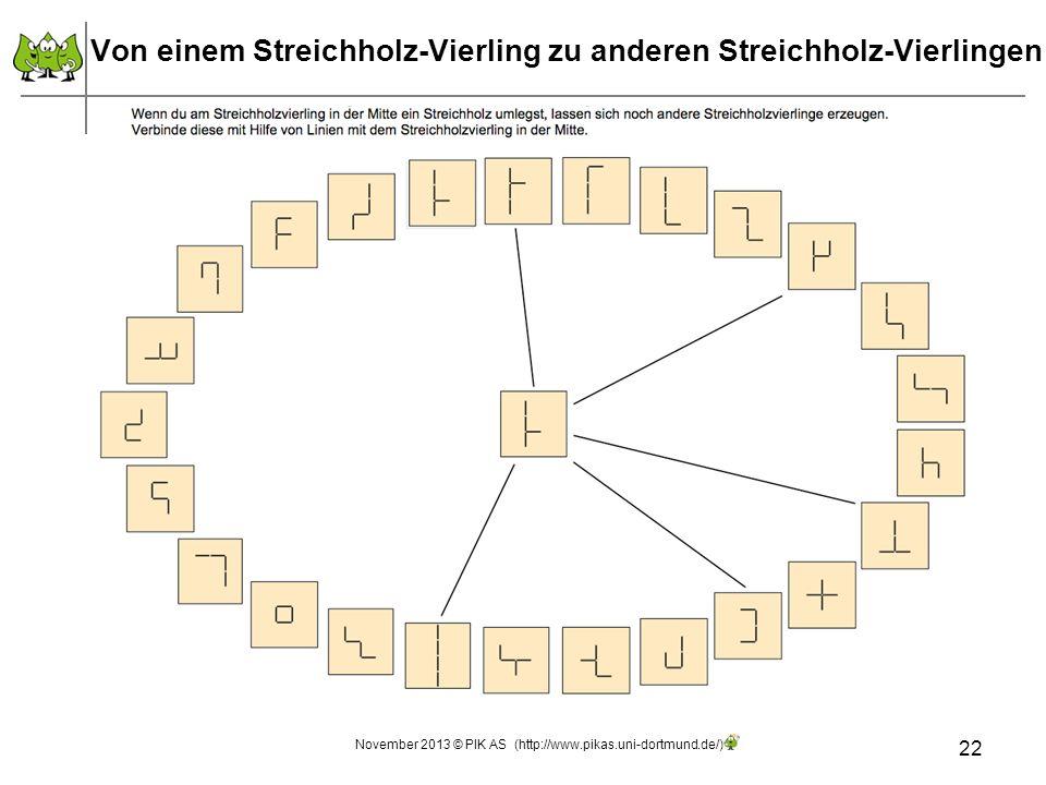 Von einem Streichholz-Vierling zu anderen Streichholz-Vierlingen 22 November 2013 © PIK AS (http://www.pikas.uni-dortmund.de/)