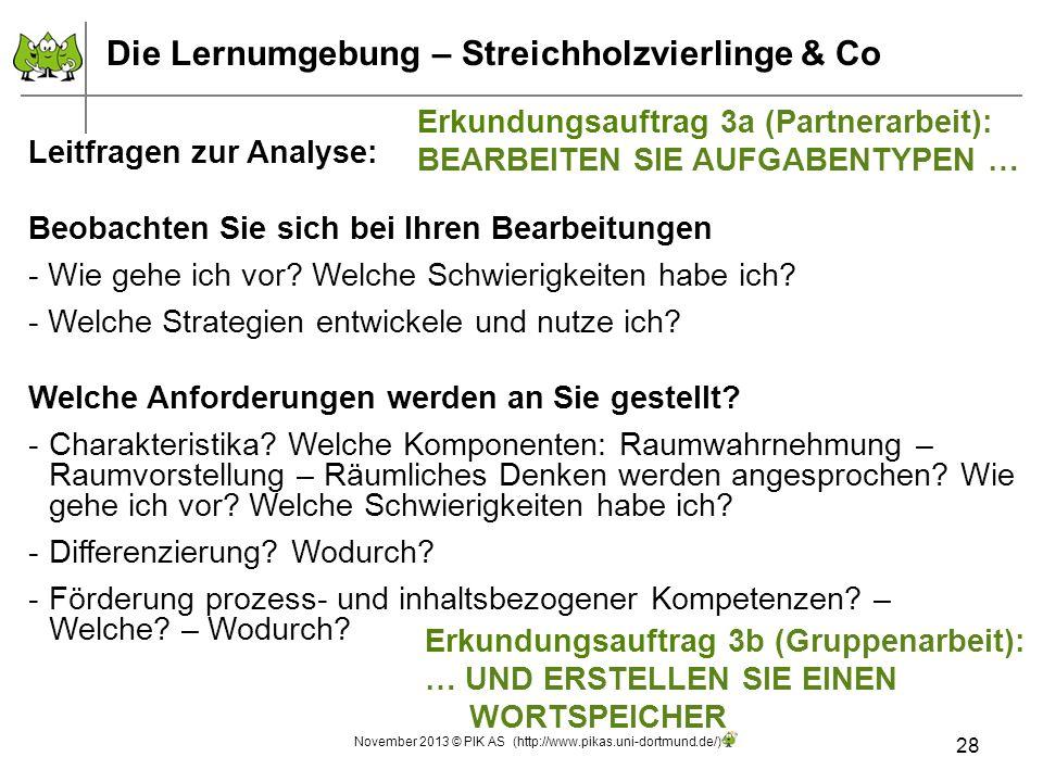 28 November 2013 © PIK AS (http://www.pikas.uni-dortmund.de/) Leitfragen zur Analyse: Beobachten Sie sich bei Ihren Bearbeitungen - Wie gehe ich vor?