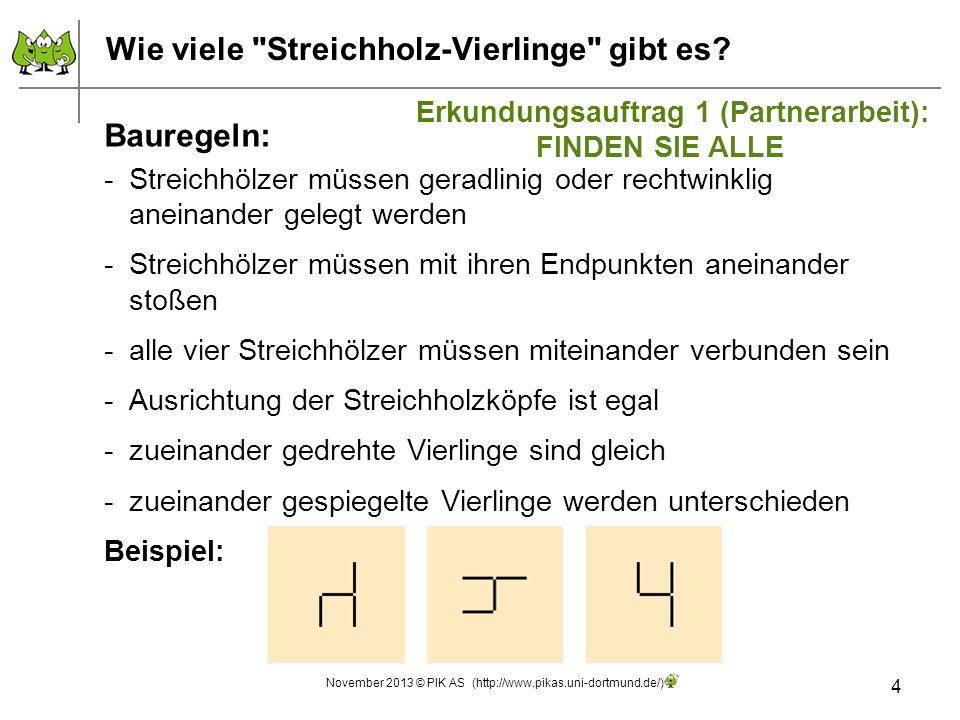 Vom Streichholz-Drilling zum Streichholz-Vierling 15 November 2013 © PIK AS (http://www.pikas.uni-dortmund.de/) Lösung: