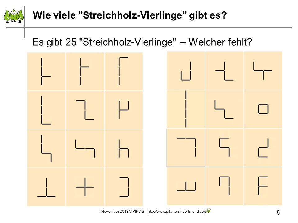 Wie viele Streichholz-Vierlinge gibt es.Warum gibt es genau 25 Streichholz-Vierlinge.