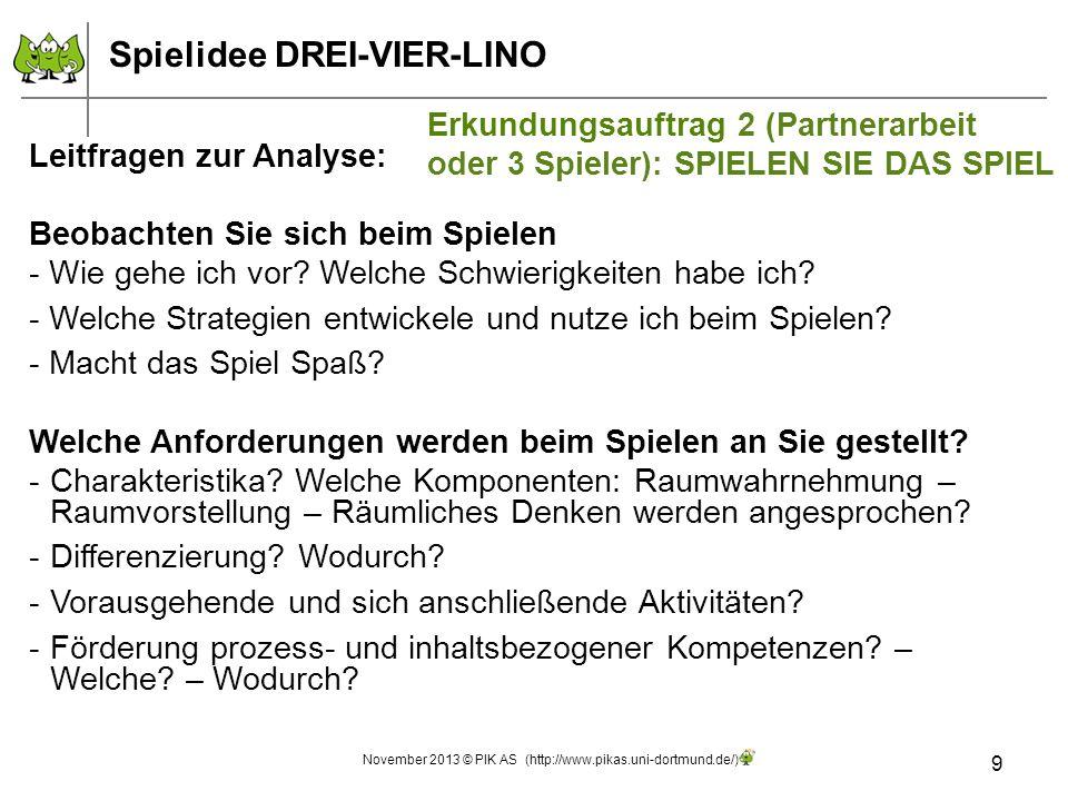 9 November 2013 © PIK AS (http://www.pikas.uni-dortmund.de/) Leitfragen zur Analyse: Beobachten Sie sich beim Spielen - Wie gehe ich vor? Welche Schwi