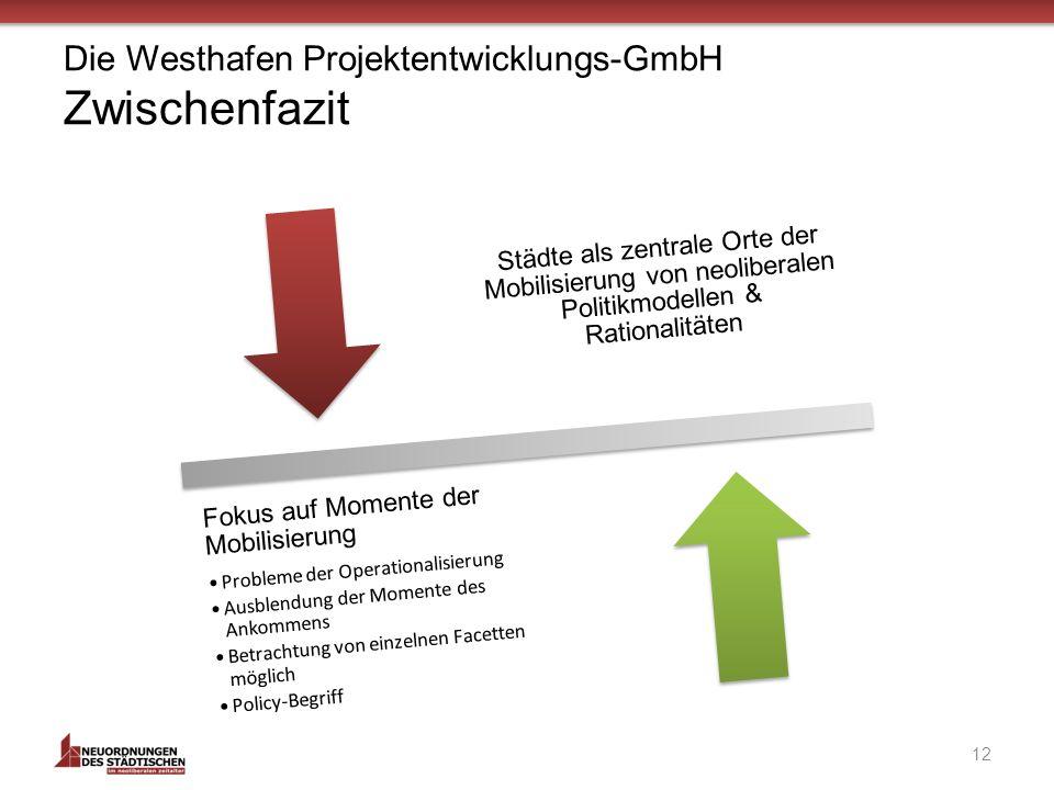 Die Westhafen Projektentwicklungs-GmbH Zwischenfazit Städte als zentrale Orte der Mobilisierung von neoliberalen Politikmodellen & Rationalitäten Fokus auf Momente der Mobilisierung Probleme der Operationalisierung Ausblendung der Momente des Ankommens Betrachtung von einzelnen Facetten möglich Policy-Begriff 12