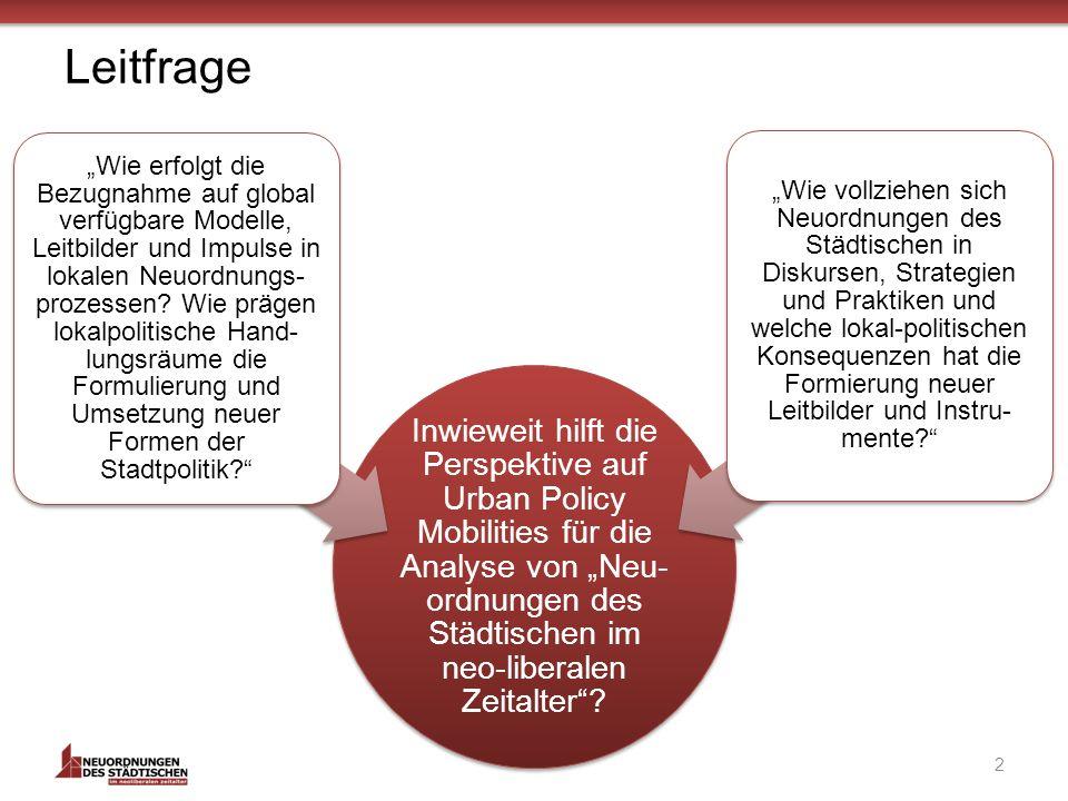 Leitfrage Inwieweit hilft die Perspektive auf Urban Policy Mobilities für die Analyse von Neu- ordnungen des Städtischen im neo-liberalen Zeitalter.