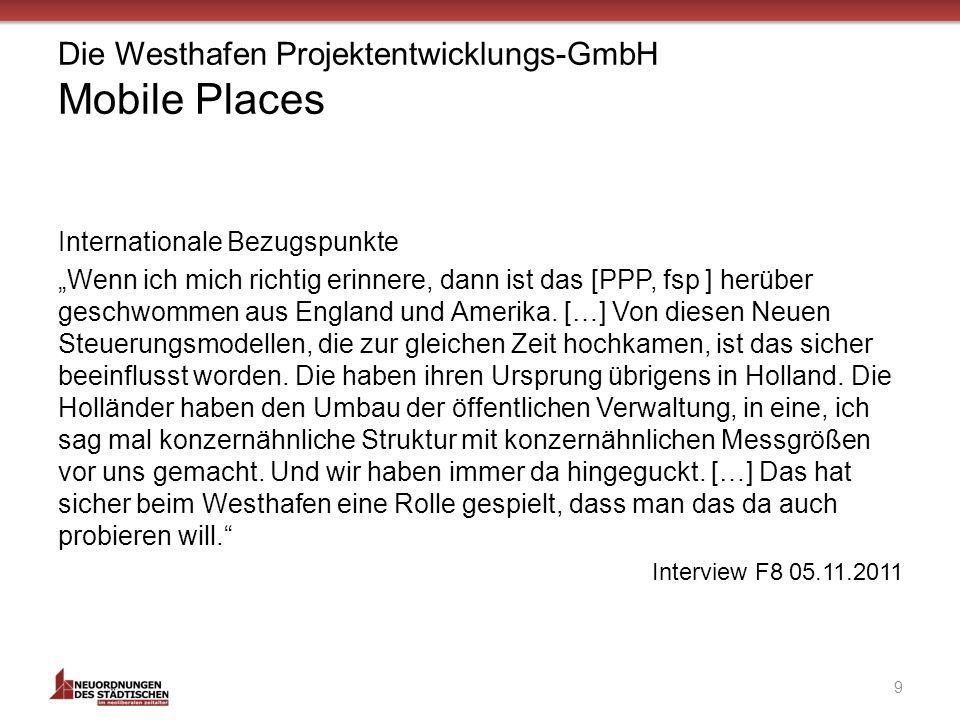 Die Westhafen Projektentwicklungs-GmbH Mobile Places Internationale Bezugspunkte Wenn ich mich richtig erinnere, dann ist das [PPP, fsp ] herüber geschwommen aus England und Amerika.