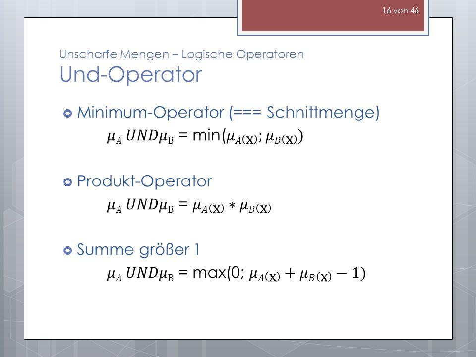 Unscharfe Mengen – Logische Operatoren Und-Operator 16 von 46