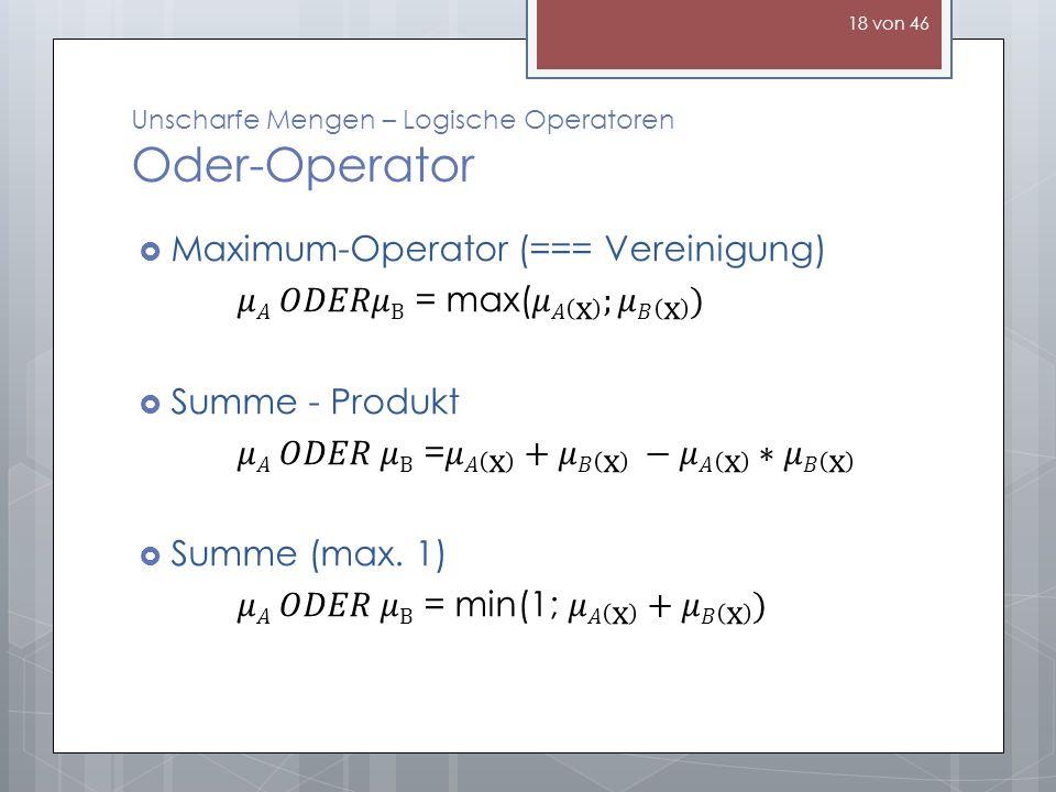 Unscharfe Mengen – Logische Operatoren Oder-Operator 18 von 46