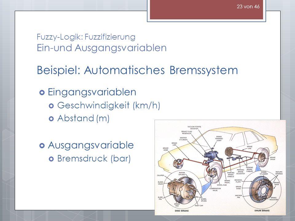 Fuzzy-Logik: Fuzzifizierung Ein-und Ausgangsvariablen Eingangsvariablen Geschwindigkeit (km/h) Abstand(m) Ausgangsvariable Bremsdruck (bar) Beispiel: Automatisches Bremssystem 23 von 46