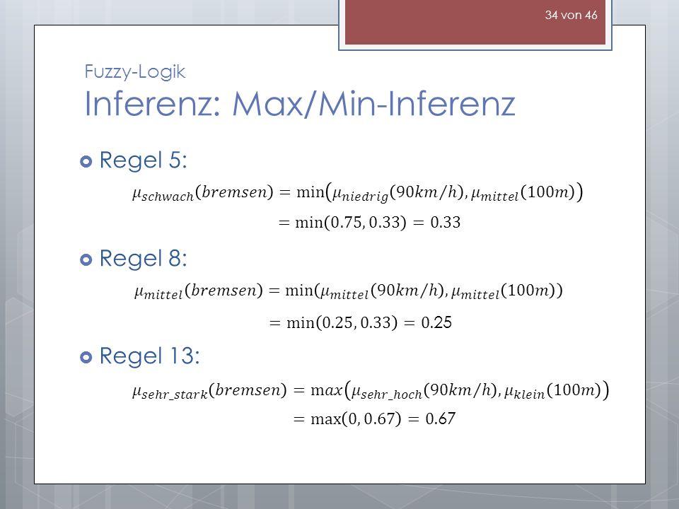 Fuzzy-Logik Inferenz: Max/Min-Inferenz Regel 5: Regel 8: Regel 13: 34 von 46
