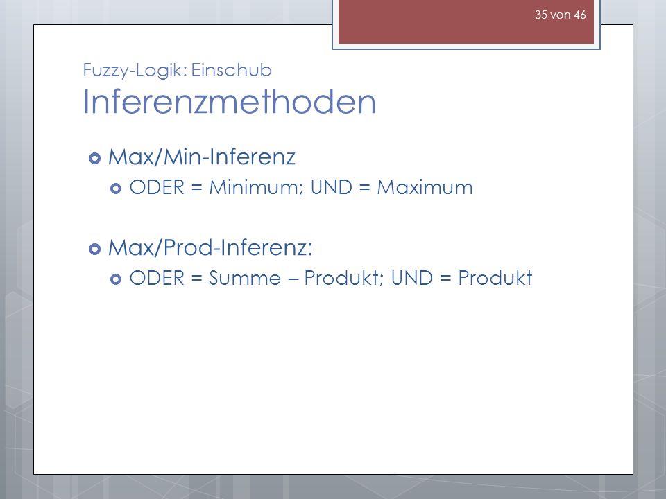 Fuzzy-Logik: Einschub Inferenzmethoden Max/Min-Inferenz ODER = Minimum; UND = Maximum Max/Prod-Inferenz: ODER = Summe – Produkt; UND = Produkt 35 von 46