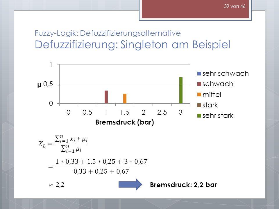Fuzzy-Logik: Defuzzifizierungsalternative Defuzzifizierung: Singleton am Beispiel Bremsdruck: 2,2 bar 39 von 46