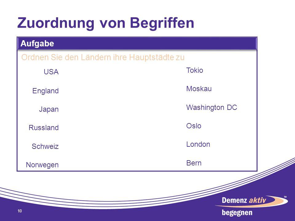 Zuordnung von Begriffen 10 Aufgabe Ordnen Sie den Ländern ihre Hauptstädte zu USA England Japan Russland Schweiz Norwegen Tokio Moskau Washington DC O