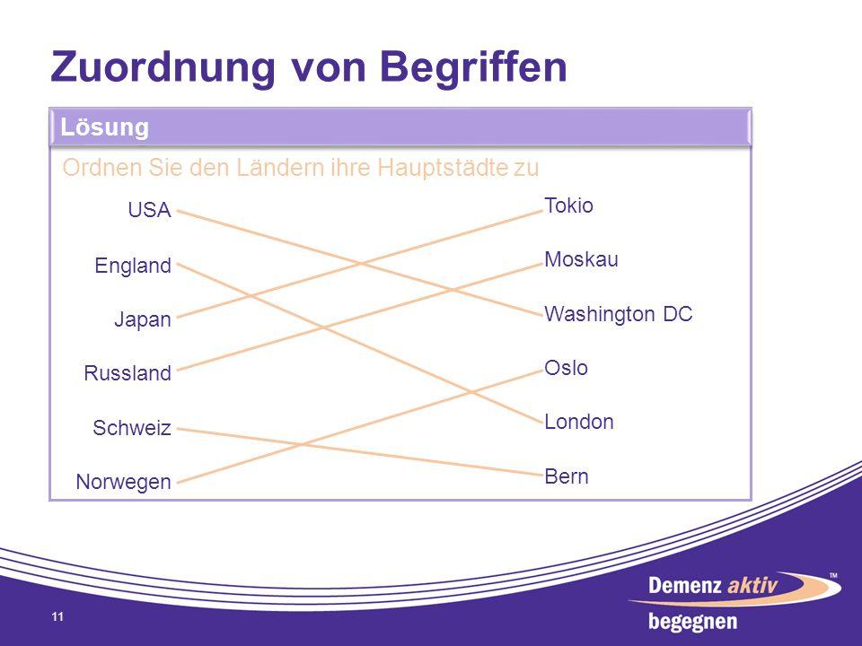 Zuordnung von Begriffen 11 Lösung Ordnen Sie den Ländern ihre Hauptstädte zu USA England Japan Russland Schweiz Norwegen Tokio Moskau Washington DC Os
