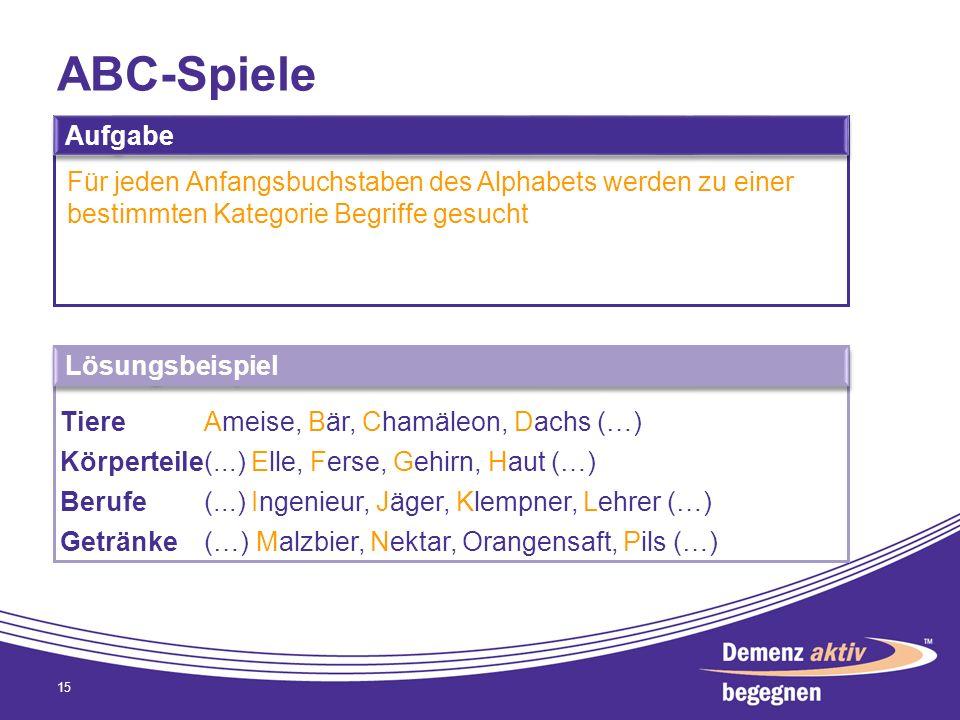 ABC-Spiele 15 Aufgabe Für jeden Anfangsbuchstaben des Alphabets werden zu einer bestimmten Kategorie Begriffe gesucht Lösungsbeispiel TiereAmeise, Bär