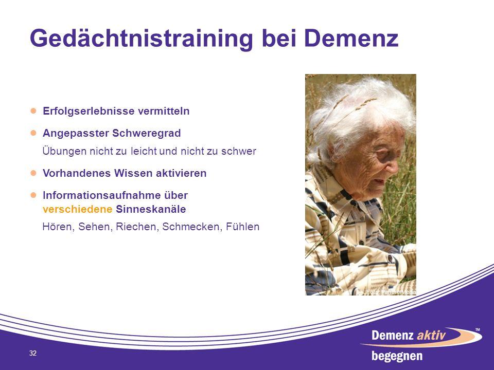 Gedächtnistraining bei Demenz Erfolgserlebnisse vermitteln Angepasster Schweregrad Übungen nicht zu leicht und nicht zu schwer Vorhandenes Wissen akti