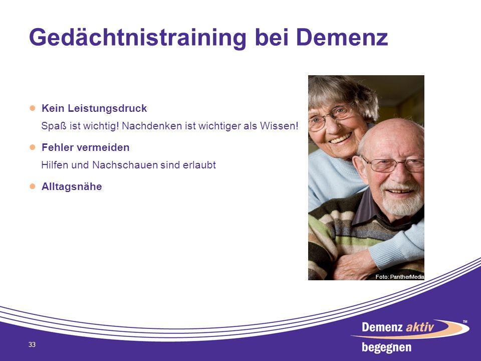 Gedächtnistraining bei Demenz Kein Leistungsdruck Spaß ist wichtig! Nachdenken ist wichtiger als Wissen! Fehler vermeiden Hilfen und Nachschauen sind
