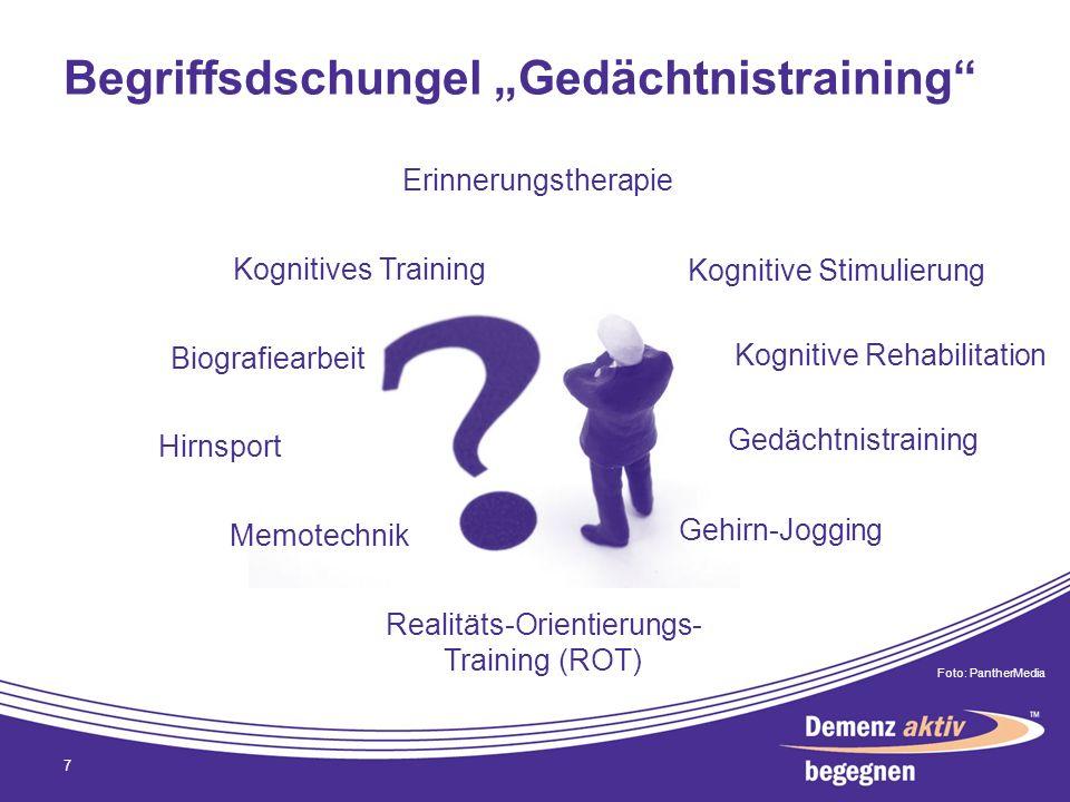 Begriffsdschungel Gedächtnistraining 7 Gedächtnistraining Kognitives Training Biografiearbeit Realitäts-Orientierungs- Training (ROT) Gehirn-Jogging H