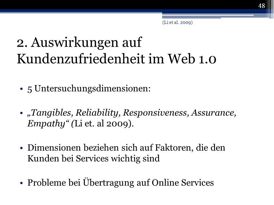 2. Auswirkungen auf Kundenzufriedenheit im Web 1.0 5 Untersuchungsdimensionen: Tangibles, Reliability, Responsiveness, Assurance, Empathy (Li et. al 2