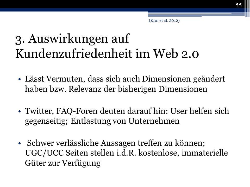 3. Auswirkungen auf Kundenzufriedenheit im Web 2.0 Lässt Vermuten, dass sich auch Dimensionen geändert haben bzw. Relevanz der bisherigen Dimensionen