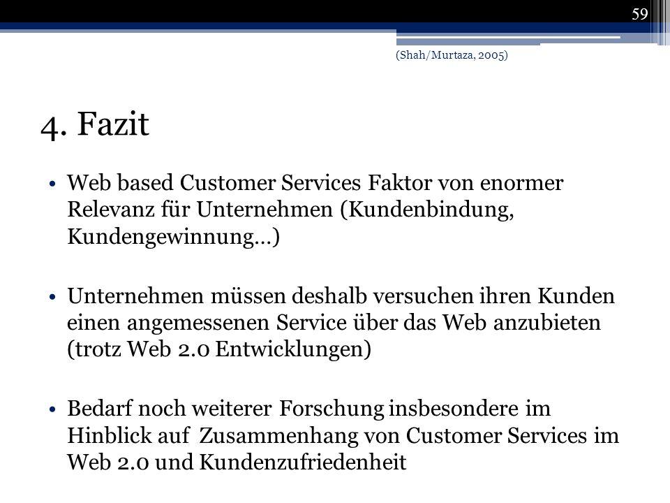 4. Fazit Web based Customer Services Faktor von enormer Relevanz für Unternehmen (Kundenbindung, Kundengewinnung…) Unternehmen müssen deshalb versuche