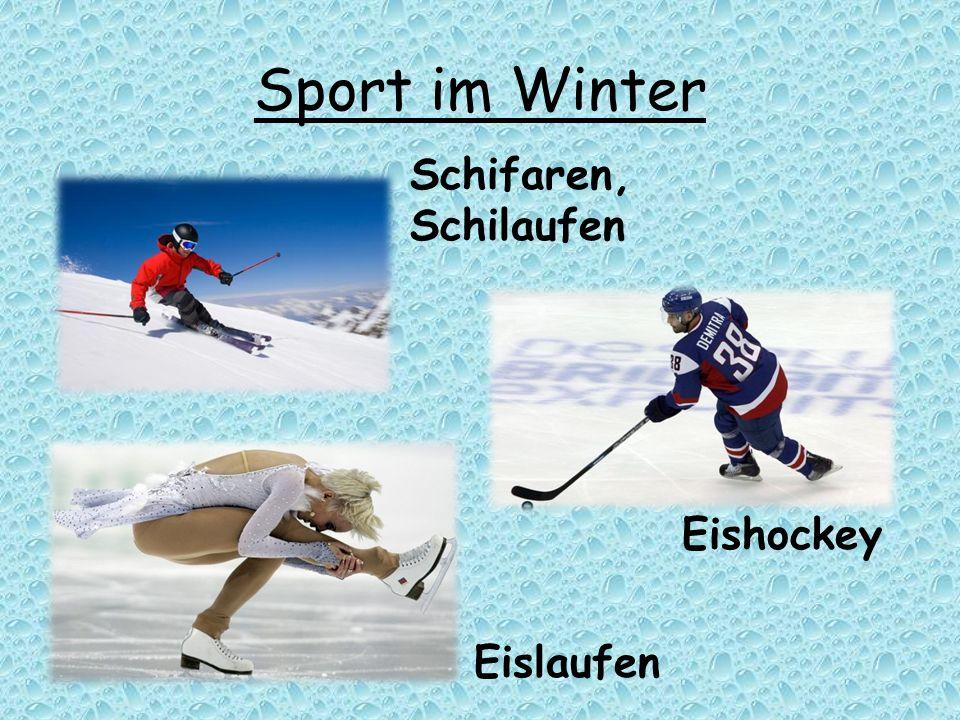 Sport im Winter Eishockey Eislaufen Schifaren, Schilaufen