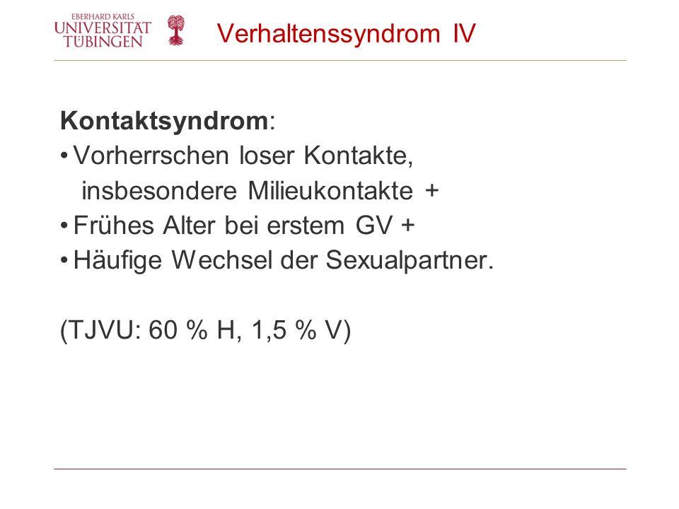 Verhaltenssyndrom IV Kontaktsyndrom: Vorherrschen loser Kontakte, insbesondere Milieukontakte + Frühes Alter bei erstem GV + Häufige Wechsel der Sexua