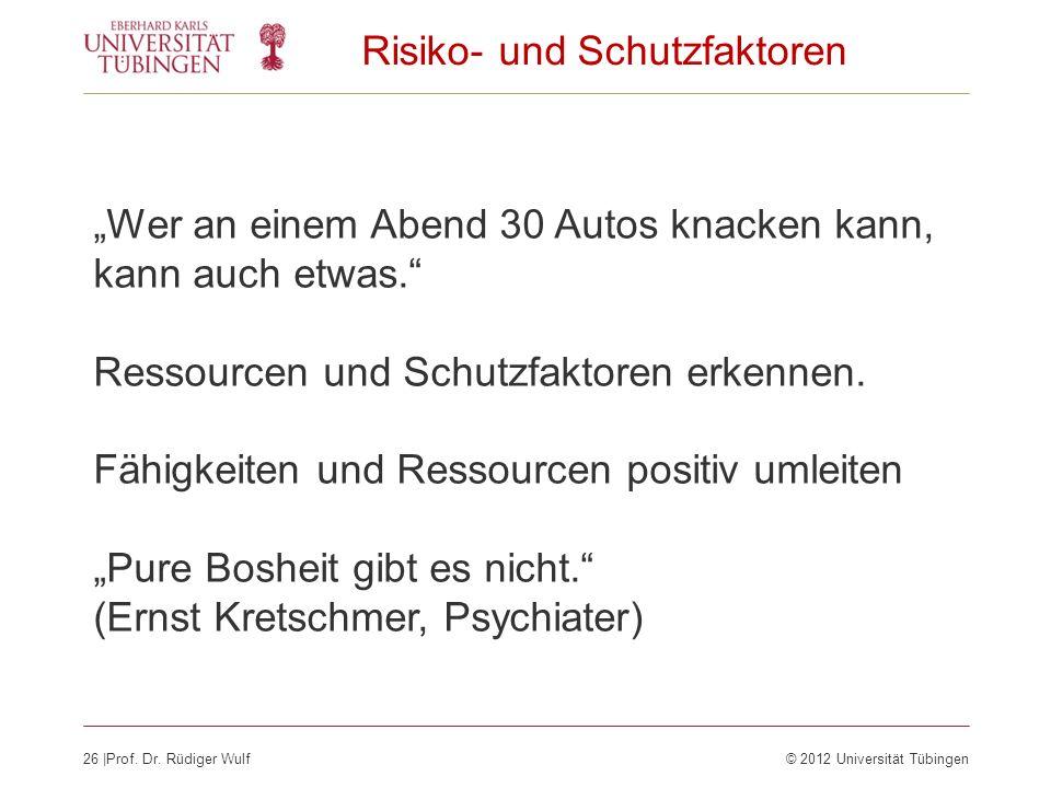 26  Prof. Dr. Rüdiger Wulf© 2012 Universität Tübingen Risiko- und Schutzfaktoren Wer an einem Abend 30 Autos knacken kann, kann auch etwas. Ressourcen