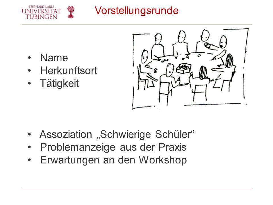 Vorstellungsrunde Name Herkunftsort Tätigkeit Assoziation Schwierige Schüler Problemanzeige aus der Praxis Erwartungen an den Workshop