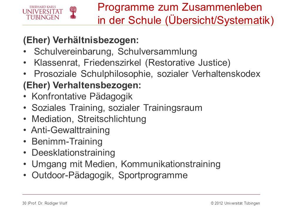30  Prof. Dr. Rüdiger Wulf© 2012 Universität Tübingen Programme zum Zusammenleben in der Schule (Übersicht/Systematik) (Eher) Verhältnisbezogen: Schul