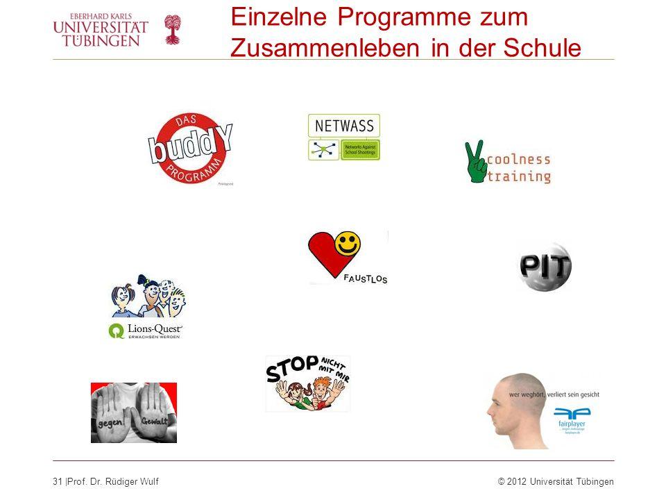 31  Prof. Dr. Rüdiger Wulf© 2012 Universität Tübingen Einzelne Programme zum Zusammenleben in der Schule