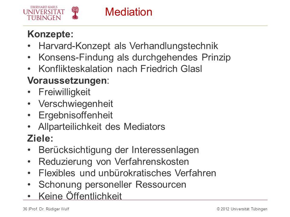 36  Prof. Dr. Rüdiger Wulf© 2012 Universität Tübingen Mediation Konzepte: Harvard-Konzept als Verhandlungstechnik Konsens-Findung als durchgehendes Pr
