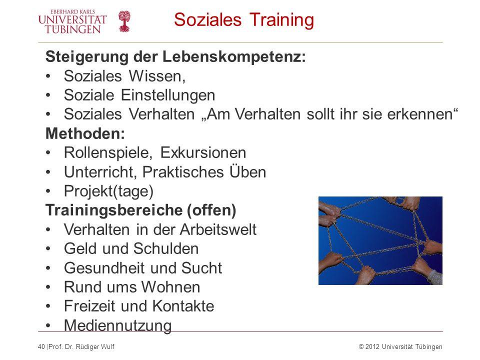 40  Prof. Dr. Rüdiger Wulf© 2012 Universität Tübingen Soziales Training Steigerung der Lebenskompetenz: Soziales Wissen, Soziale Einstellungen Soziale