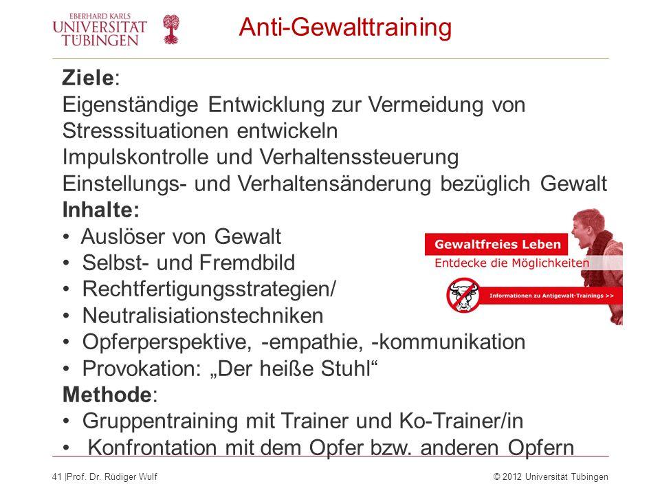 41  Prof. Dr. Rüdiger Wulf© 2012 Universität Tübingen Anti-Gewalttraining Ziele: Eigenständige Entwicklung zur Vermeidung von Stresssituationen entwic